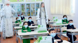 First-graders of Mary velayat were presented with computers of domestic production